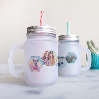 Geburtstagsgeschenke für Frauen - Personalisierbares Henkelglas mit 4 Bilder