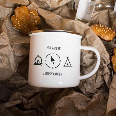 Ostergeschenke - Metalltasse Happy Camper