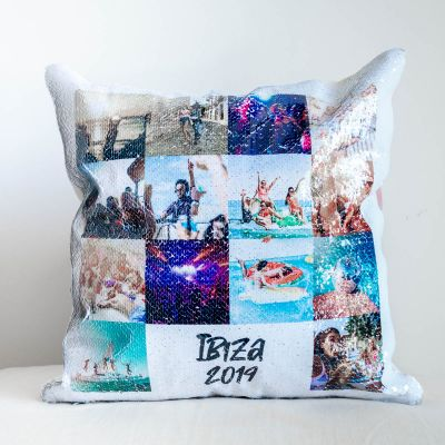 Deko - Personalisierbarer Pailletten Kissenbezug mit 14 Bildern und Text