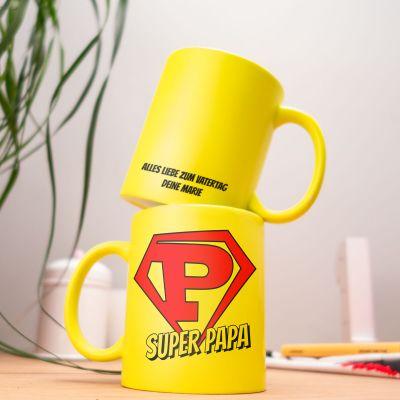 Tassen & Gläser - Personalisierbare Neon Tasse Super Papa