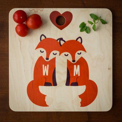 Personalisierte Geschenke aus Holz - Personalisierbares Fuchs Schneidebrett