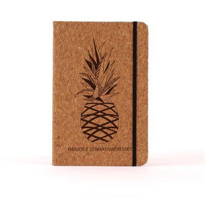 Geschenk zum Abschluss - Personalisierbares Kork-Notizbuch - Ananas