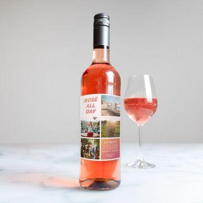 Muttertagsgeschenke - Personalisierbarer Wein mit 4 Bildern und Text