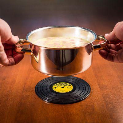 Adventskalender füllen - Schallplatten Topfuntersetzer