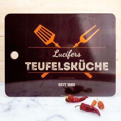 Küche & Grill - Personalisierbares Schneidebrett in Schwarz
