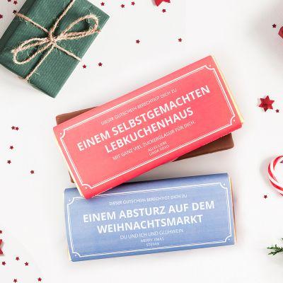 Exklusive Schokoladen - Personalisierbarer Gutschein mit Schokolade
