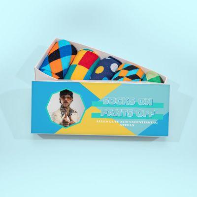 Exklusiv bei uns - Sockenbox mit Bild und Text