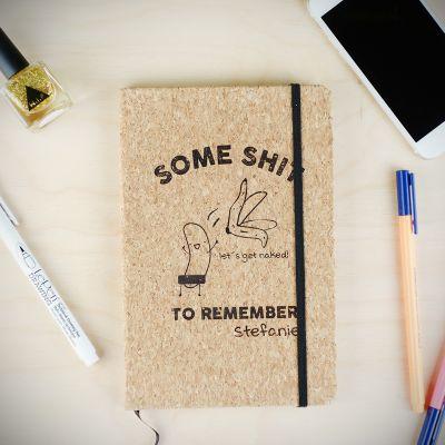 Exklusive Notizbücher - Personalisierbares Kork Notizbuch Some Shit