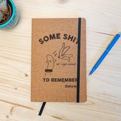 Geschenke mit Gravur - Personalisierbares Kork Notizbuch Some Shit