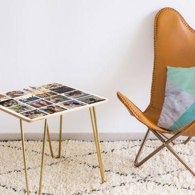 Deko - Personalisierbarer Holz-Tisch mit 16 Bildern