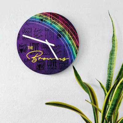 Uhren - Personalisierbare Wanduhr im Neon-Design