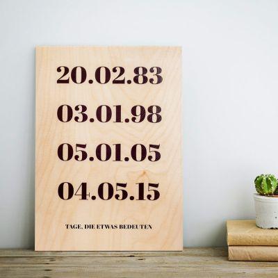 Vatertagsgeschenke - Personalisierbares Holzbild - Wichtige Daten