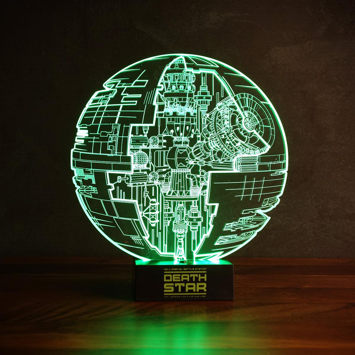 Star Wars Todesstern Leuchte mit 3D Effekt