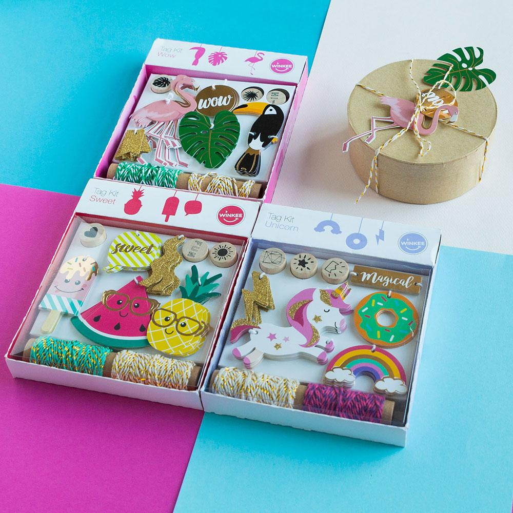 Fröhliche Geschenkanhänger Sets - Wow (Flamingo/Tukan)