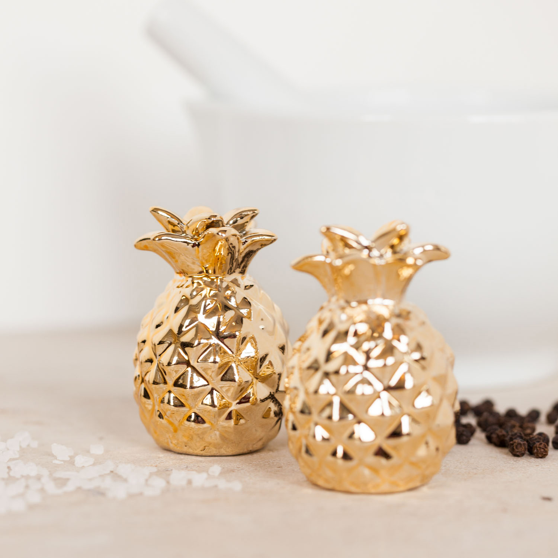Gold Ananas Salz und Pfefferstreuer