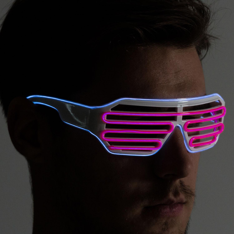 Brille mit farbigen LEDs - Blauer Rand, pinke ´...