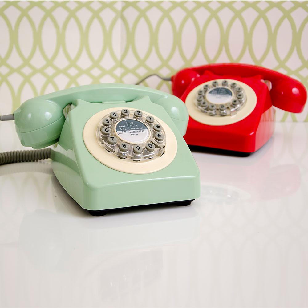 Retro Telefon In Rot Oder Grün