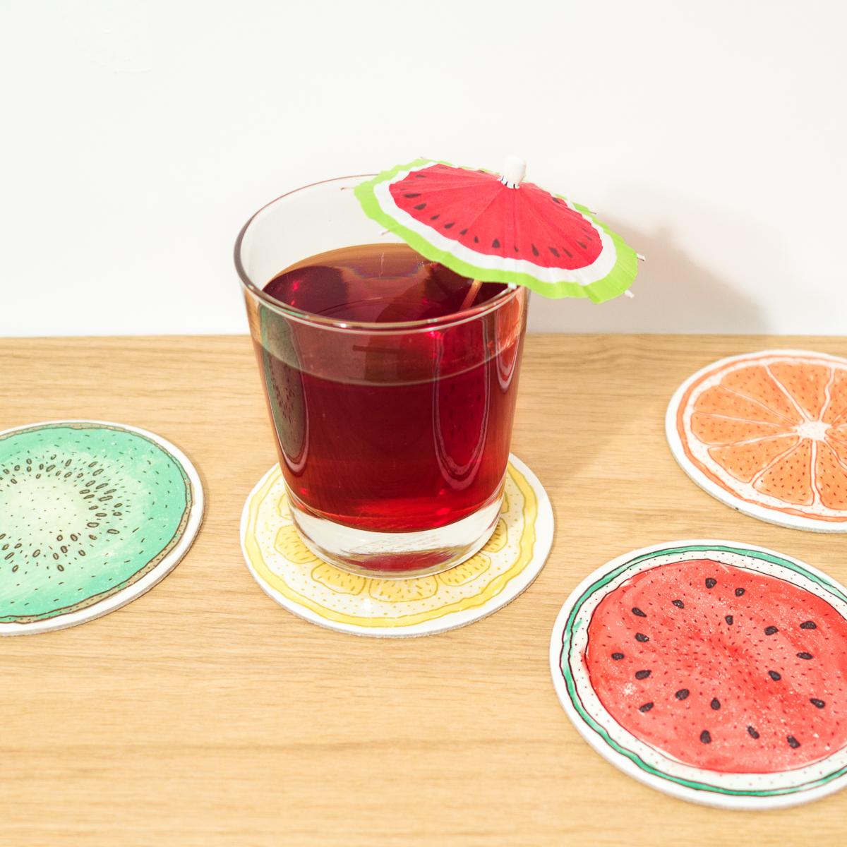 Früchte-Untersetzer 4er-Sets - Wassermelone & Zitrone