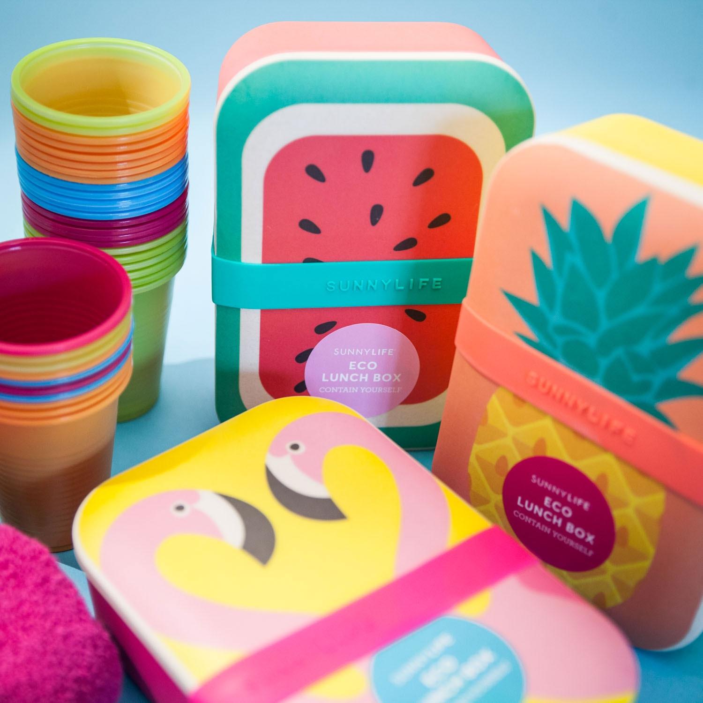 Fröhliche Öko Lunchboxen Flamingo