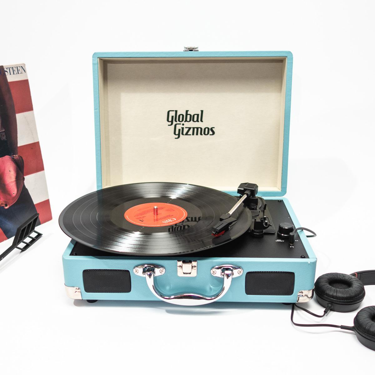 Retro Koffer Plattenspieler Hellblau
