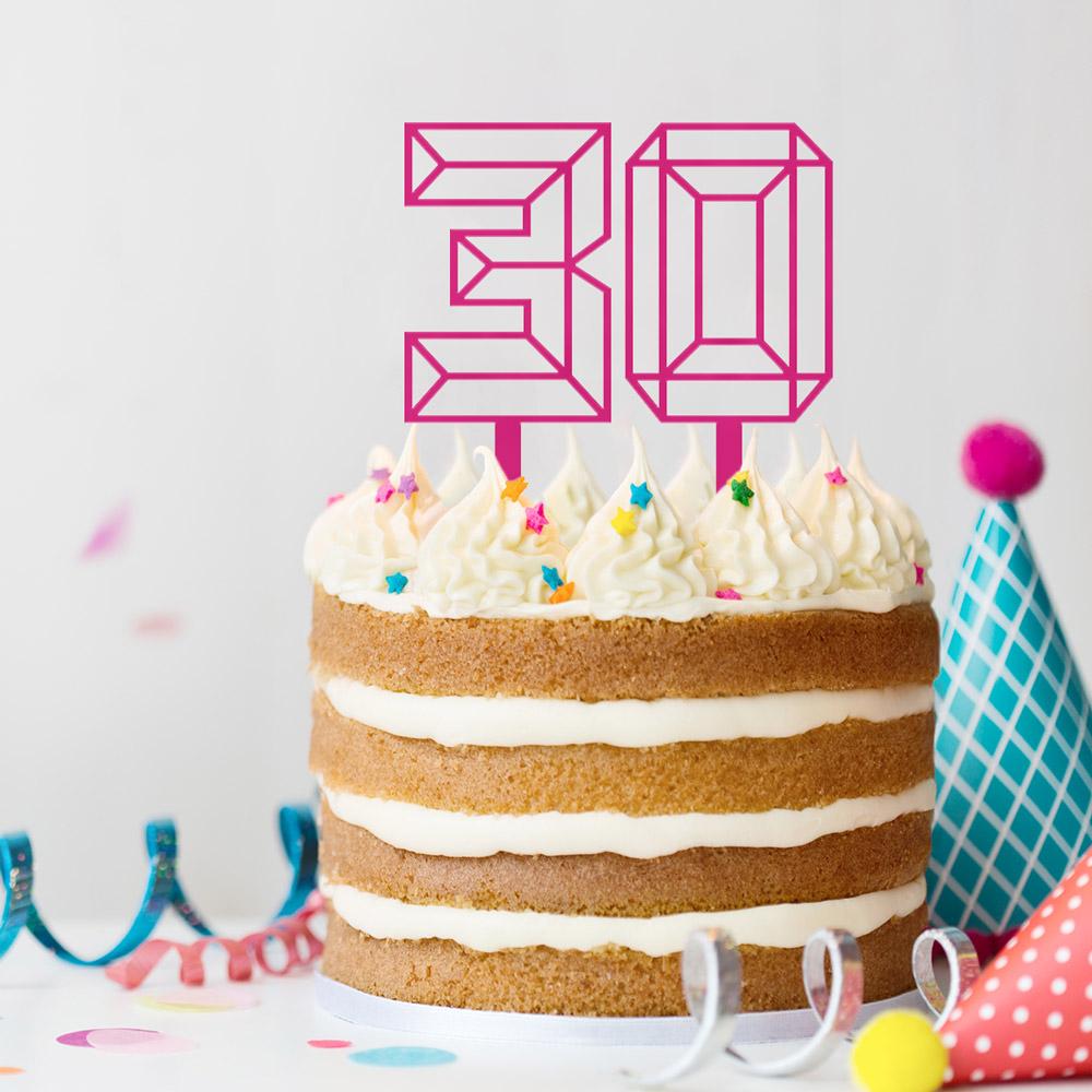 geburtstagsgeschenk zum 30. personalisierbarer Cake topper in zahlenform