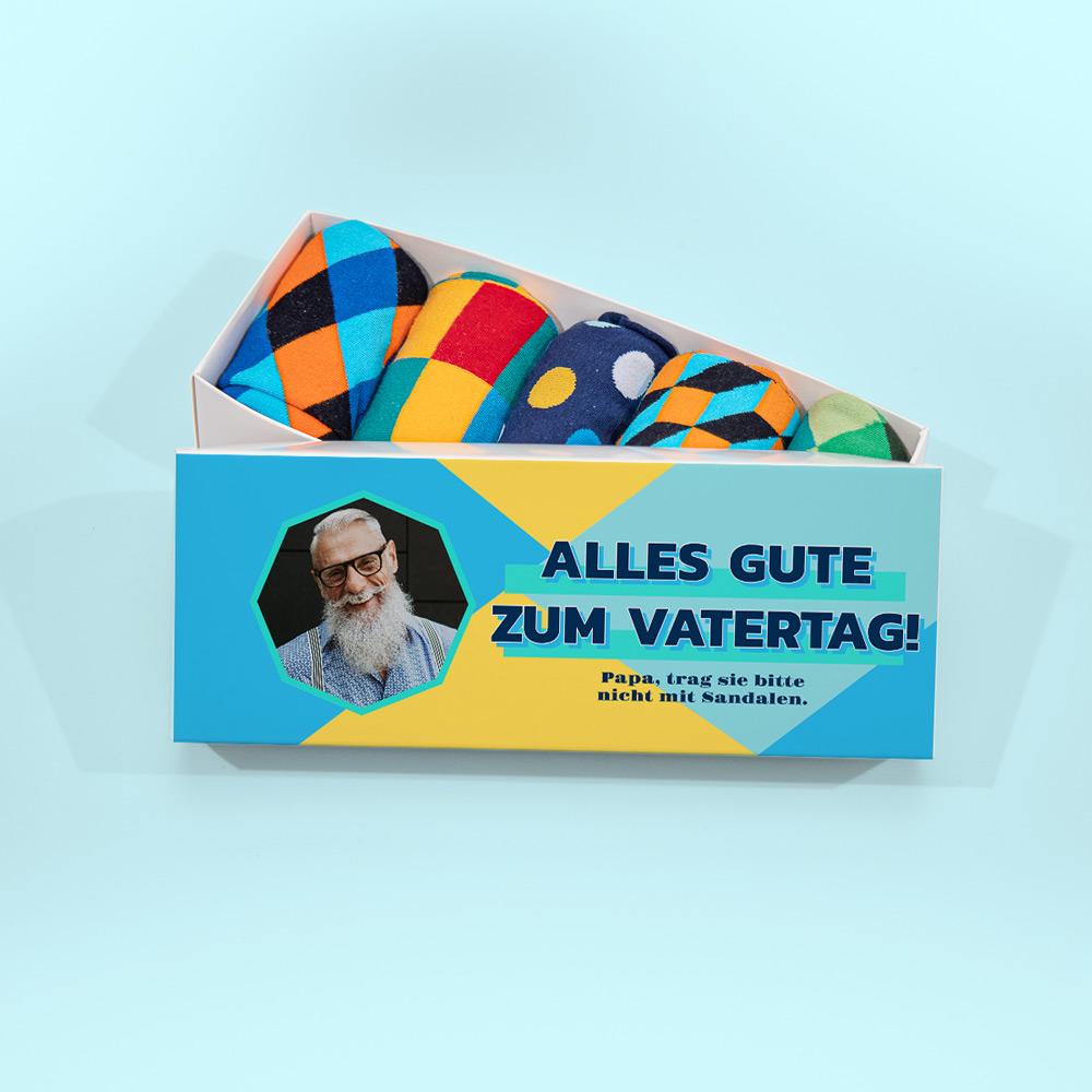 vatertagsgeschenk personalisierte sockenbox mit foto und text